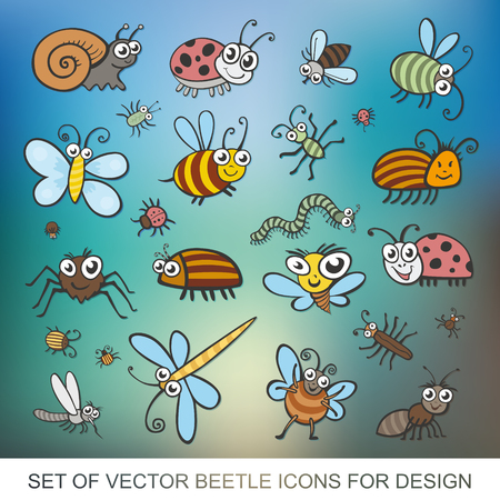 Set funny insects. Isolated on white background. Wasp, bee, bumblebee, butterfly, worm, caterpillar, beetle, ladybug, grasshopper, fly, mosquito, dragonfly, spider, snail, ant, Colorado beetle. flat vector icon Illusztráció