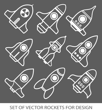 Set of rockets. Space ship start-up. Graphic elements for design. Vector icon set. flat illustration.