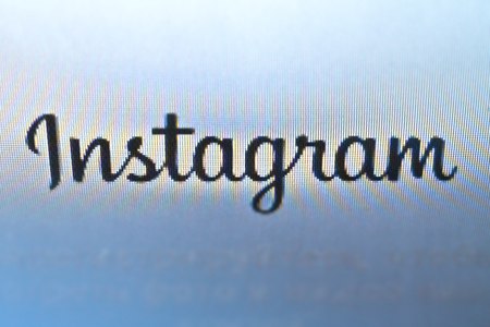 Logo of the instagram on the official website is 2018 - 2019. Social networks view from the monitor, photo for the blog and design. For non-commercial use Editorial