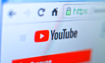 YouTube website home page on 2018 2019.  Photo for a blog for non-commercial use Editorial