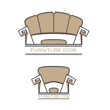Graphic abstract vector royal sofa in baroque style on white isolated background. Antique Victorian-style furniture for design. an exclusive chair for VIP-person. Logotype, Logo Иллюстрация