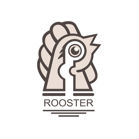 Graphic simple black cock on isolated white background. Farmers stamp icon, Vectorial emblem of the emblem. Logotype, Logo Çizim