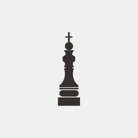 Graphic simple black and white chess king. A symbol of victory in a game or business. Vector icon. Logotype Logo Çizim