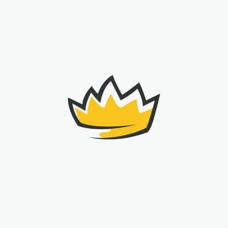 Graphic modernist element drawn by hand. royal crown of gold. Isolated on white background. Vector illustration. Logotype, logo