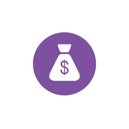 Bag with money, dollars isolated flat web mobile icon. Vector graphic illustration. Logotype, logo