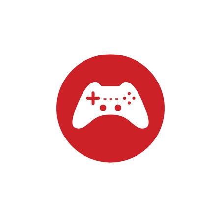 Game joystick for the console isolated flat web mobile icon. Vector graphic illustration. Logotype, logo