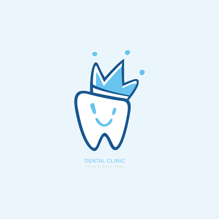 Vector graphic icon template for dental clinic. Smiley with a cheerful face. dentist treatment and health and mouth Hospital. Art illustration for your business. Logotype, Logo