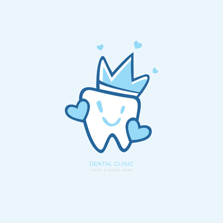 Vector graphic icon template for dental clinic. dentist treatment and health and mouth Hospital. Art illustration for your business. Logotype, Logo Çizim