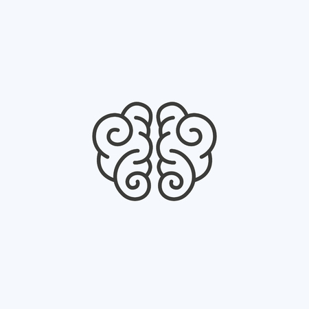 Creative clever brain in a graphic style with curls. Business idea, brainstorming. Vector illustration. Logotype, Logo