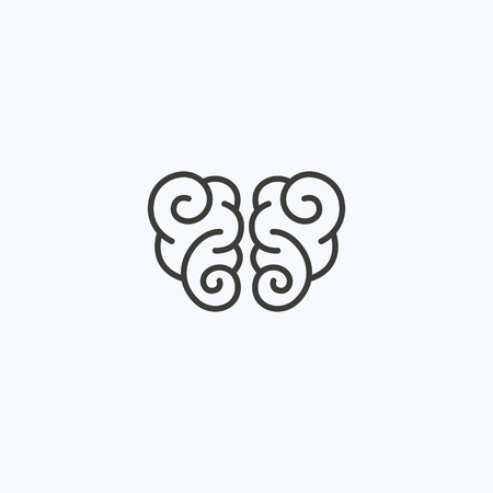 Creative clever brain in a graphic style with curls. Business idea, brainstorming. Vector illustration. Logotype, Logo 일러스트