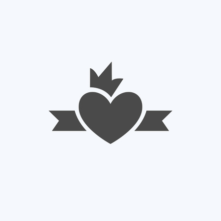 Simple graphical heart icon with crown. Template for your design and holiday. Vector illustration, emblem. Logotype, Logo