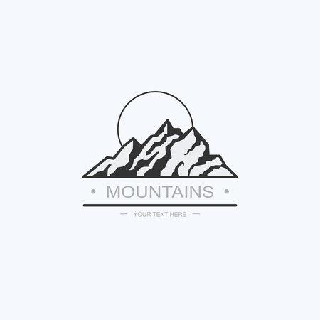 Ddrawn graphic icon of the tops of mountains for design. Summer camp, vacation in nature. Vector illustration, icons. Logotype, Logo