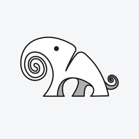Simple graphic icon for a large elephant. creative African, Asian theme. Mammalian mammoth. Vector illustration. Logotype, Logo