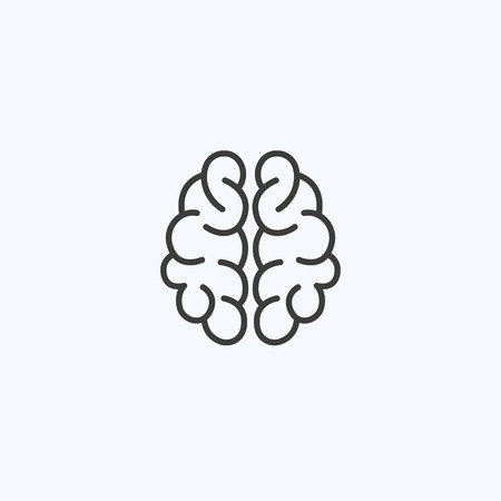 Creative clever brain in a graphic style with curls. Business idea, brainstorming. Vector illustration. Logotype, Logo Çizim