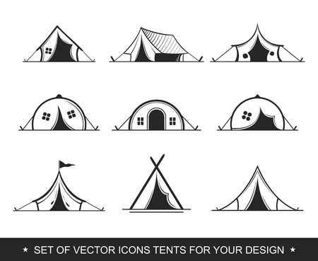 Set Painted graphic tent for travel and recreation in a camping. Vector label, icon for the design of a summer children's camp. Logotype, Logo Иллюстрация