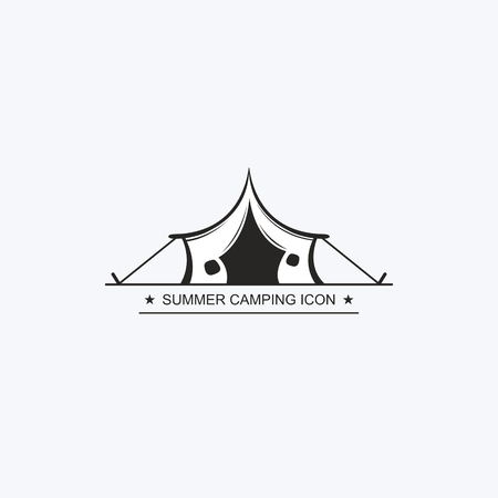 Painted graphic tent for travel and recreation in a camping. Vector label, icon for the design of a summer children's camp. Logotype, Logo Vectores