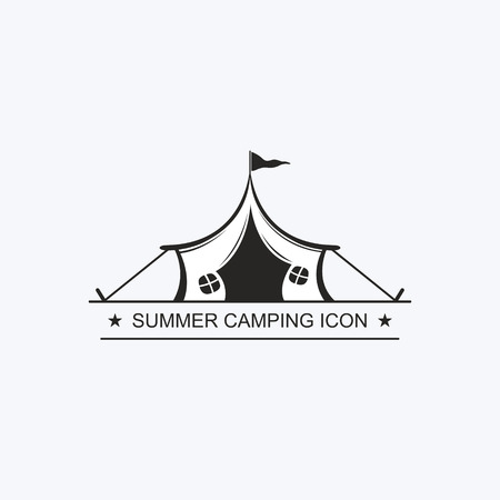 Painted graphic tent for travel and recreation in a camping. Vector label, icon for the design of a summer childrens camp. Logotype, Logo Çizim