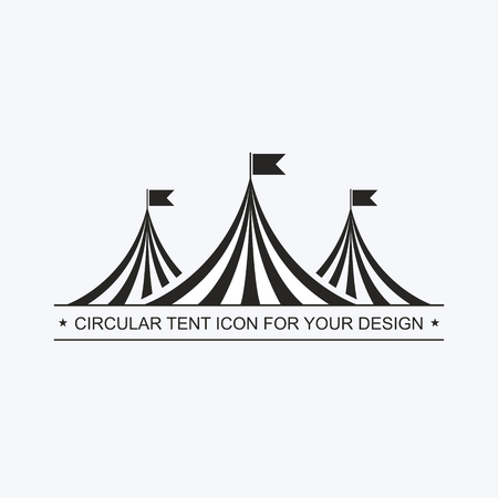 Circus tent template. Invitation to event, presentation. Circus building, circus hut awning, with balls, decoration, shapito, exterior appearance. Logotype logo pictogram Vector icon Standard-Bild - 107254122
