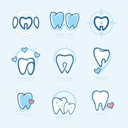 Happy teeth set. Dental personage vector illustration. medical concept for your design. Illustration for children dentistry. Oral hygiene, teeth cleaning. Teeth sticker. Vector Logotype, Logo