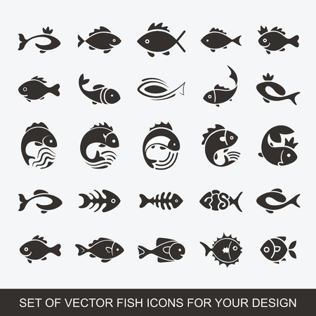 Set of graphic insulating fish. variety of marine and freshwater residents for menu restaurants. Vector collection of icons and illustrations. Logotype, Logo