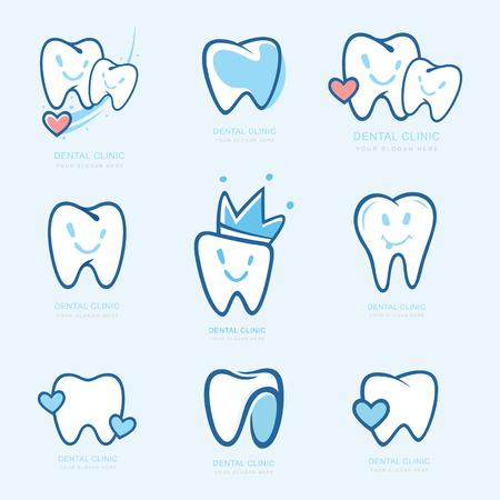 Glückliche Zähne gesetzt. Zahnpersönlichkeitsvektorillustration. medizinisches Konzept für Ihr Design. Illustration für Kinderzahnheilkunde. Mundhygiene, Zahnreinigung. Zahnaufkleber. Vektor-Logo, Logo