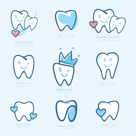 Happy teeth set. Dental personage vector illustration. medical concept for your design. Illustration for children dentistry. Oral hygiene, teeth cleaning. Teeth sticker. Vector Logotype, Logo