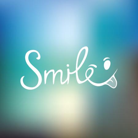Hand-drawn lettering of a phrase Smile. T-shirt hand lettered calligraphy. emoji font design, graphic, background. Vector illustration. Ilustração