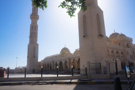 Beautiful mosque in the sun. The shrine of the Muslim world. Stock photos