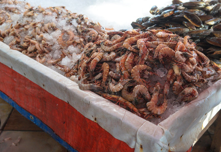 Various shrimps on the market near the sea, the ocean. Old stalls with fresh marine life. Asia culture and traditions. Stock photos