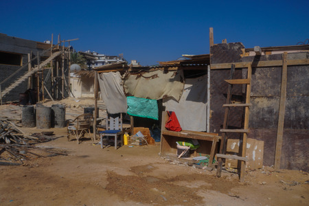 Outdated ruins of houses, slums in poor areas of Egypt. Hurghada and Cairo Asia. Stock photo for design Stok Fotoğraf