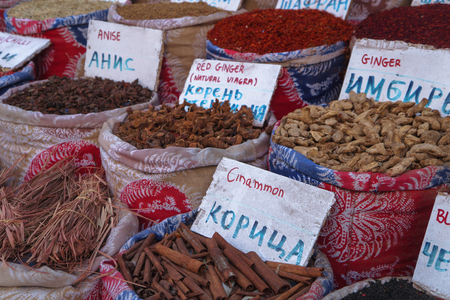 Street Egyptian market with a variety of goods and spices for the kitchen. Hurghada and Cairo with all culture. Stock photo for design Stok Fotoğraf