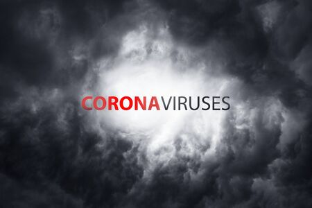 Warning about the scary coronavirus virus. World pandemic with the bacterium COVID-19. Wuhan city a threat to humanity against the backdrop of thunderclouds Archivio Fotografico