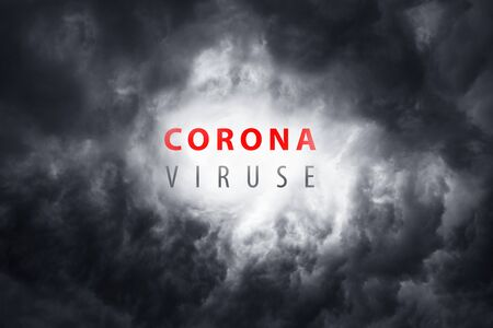Warning about the scary coronavirus virus. World pandemic with the bacterium COVID-19.  city a threat to humanity against the backdrop of thunderclouds