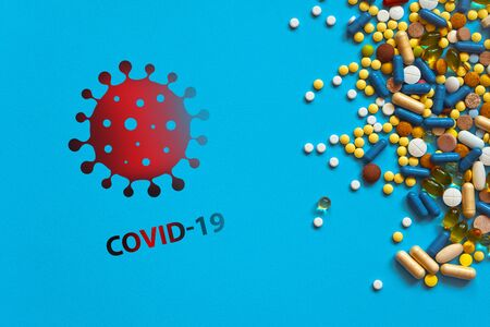 World pandemic with coronavirus and high mortality. Warning about the scary COVID-19 virus. Infections of Asia, Europe and America COVID19. Pills and rescue on background