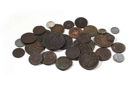 Ancient coins of the Russian Tsarist Empire. Collectible background on an isolated background! Numismatics of old money. Stock photo for design