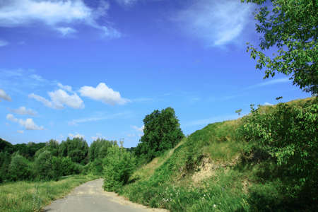 Road in the village among beautiful nature. Landscape in the summer. Stock photo background 免版税图像