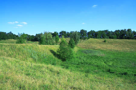 Beautiful summer landscape of nature countryside. Green vegetation of grass and trees with hills. Stock photo for design