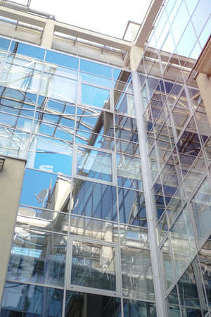 Glass structure of the office building. Shopping center in Europe. Stock photo for design.