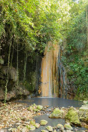 diamond: Saint Lucia volcanic waterfall at Diamond Botanical gardens