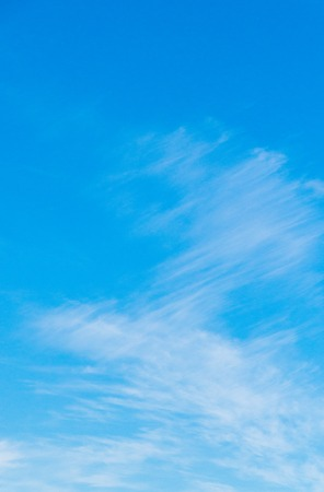 Blue sky cloudscape and white cirrus clouds background Stock Photo