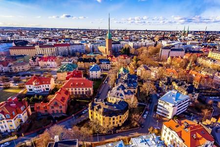 Aerial View of  colorful Helsinki. Standard-Bild