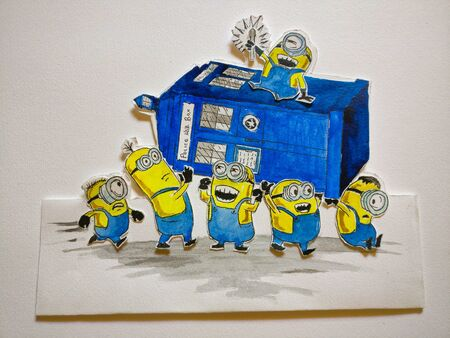 A painting of minions carrying a doctor who telephone booth.