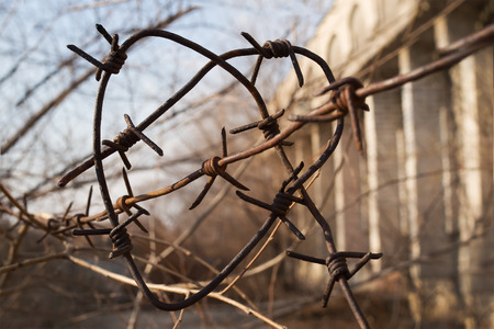 Heart made of barbed wire on a building background. Concept: Love behind barbed wire. Love with the prisoner. Love and obstacle. Love and pain.