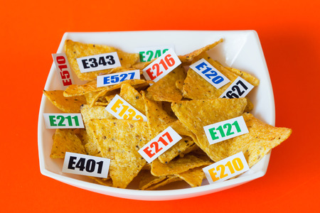 Harmful food additives. There are several tables with the code E-additives on the plate. Orange background.