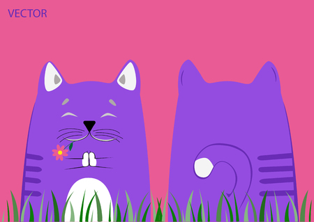 Blue cat with flower in his teeth meditates on the grass. Back side. Series.