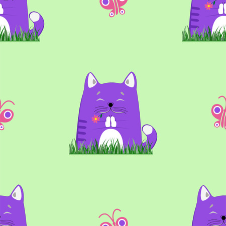 Blue cat with flower in his teeth meditates on the grass. Pattern.