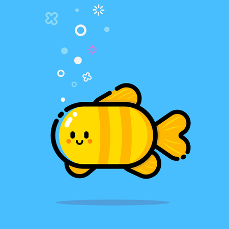 Cute little fish on a blue background. Changeable colors and background.
