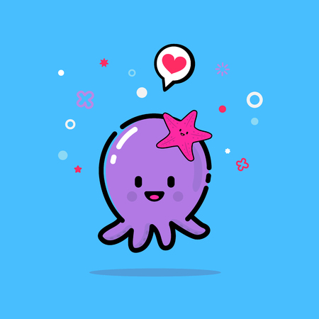 Cheerful octopus with a starfish on his head. Changeable colors and background.