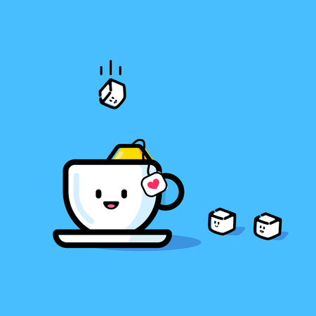A cube of sugar flies into a mug. Changeable colors and background. 向量圖像