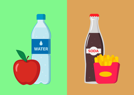Double image. Clean water with apple and sparkling water with french fries. The concept of healthy and harmful food.